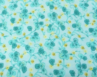 Aqua, Yellow Calico Floral Print by Peter Pan Fabrics, 1 yard