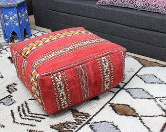 MOROCCAN KILIM POUF Pouffe Extra Large Floor Cushion Pillow Cover Handmade Handwoven 60 cm x 60 cm x 25 cm  / 25.6''x 25.6''x 10'' (KP1)