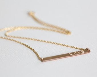 Bar necklace, name necklace, dainty necklace, custom hand stamped pendant, keepsake necklace - gold filled