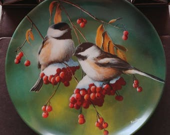 "Edwin Knowles 1986 Bird Collector Plate ""The Chickadee"""