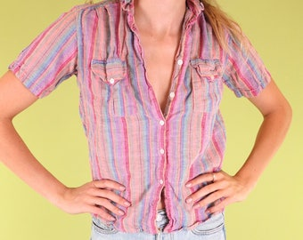 Lovely bright purple and multicolor stripe vintage 100% cotton button-up SIZE XS
