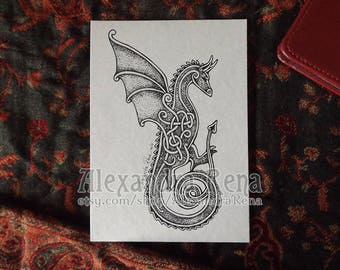 Celtic Knotwork Dragon Art Print - 5x7