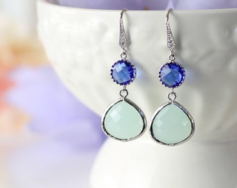 Sapphire Blue Mint Glass Earrings, Everyday Wear Crystal Earrings, Bridesmaids gifts, Royal Blue Silver wedding