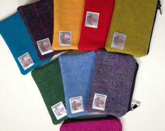 Handmade Harris Tweed fully lined coin purse - range of beautiful colours