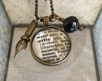 Write Dictionary Charm Necklace. Gift for Writers.