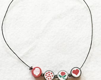 Beaded Jewelry, Beaded Necklace, Valentine Jewelry, Holiday Jewelry, Holiday Necklace, Valentine Necklace, Clay Jewelry, Statement Jewelry
