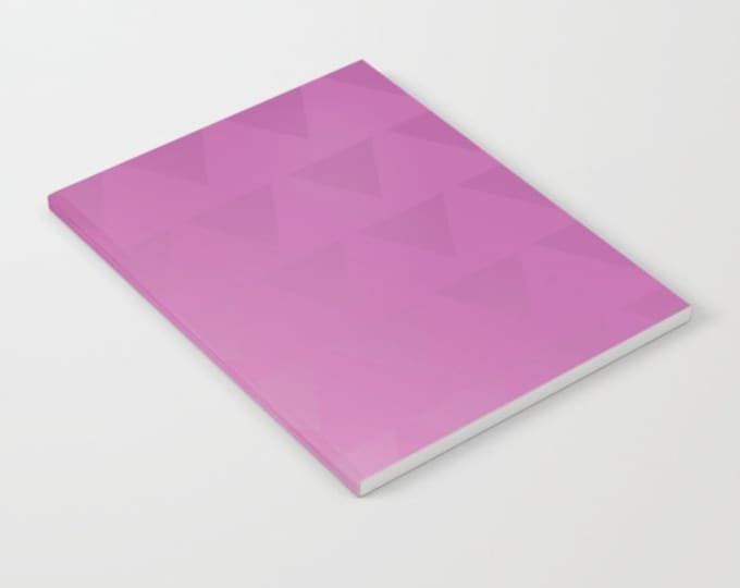 Pink Notebook - Pink Ombre with Triangles - Blank Book - Lined - Unlined - Made to Order
