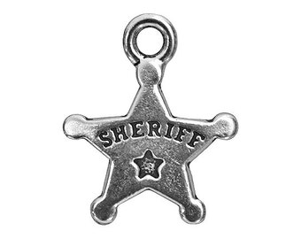 3 TierraCast Sheriff Badge 11/16 inch ( 18 mm ) Silver-Plated Pewter Drop Charm