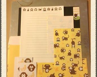 Monkeys Stationary set, kitsch pen pal stationary, Monkeys ephemera, Monkeys scrap pack , kitsch Monkey ephemera