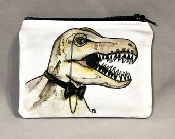 Dapper Dino - Small Zipper Pouch - Fancy Tyrannosaurus Rex with Bow Tie and Monocle - Art by Marcia Furman