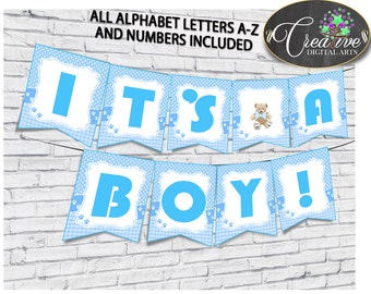 Banner, Baby Shower Banner, Teddy Bear Baby Shower Banner, Baby Shower Teddy Bear Banner Blue decorations banner, design banners - tb001