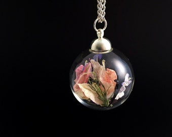 Summer pastel petals necklace, Botanical Jewellery Terrarium, Dried Delphinium petals Pendent, Silver chain with nature filled glass ball
