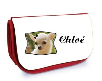 Cosmetic case red /crayons Chihuahua personalized with name