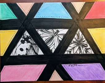 "Stained Glass-Look Ink and Colored Pencil Drawing ""Ready for a Close-Up"""
