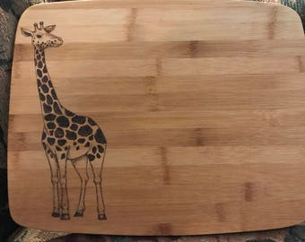Giraffe bamboo cutting board, option to personalize, hand illustrated wood burning