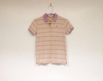 Vintage 1990s Gloria Vanderbilt Super Cute Striped Pastel Polo Shirt