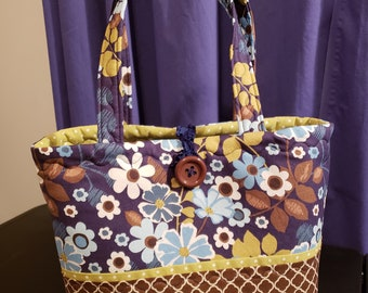 Brown and Navy Floral Purse