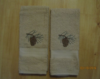 NEW 2 PINE CONE  Tan Hand Towels. Lodge Towels, Northwoods cabin decor