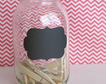 6 Large Chalkboard Vinyl Labels - Flourish, Rectangle, Oval, Scallop Rectangle - Mason Jar Chalk Labels - Large Black Chalkboard Stickers