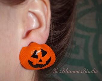 Jack O' Lantern Shell Earrings (Limited Edition)