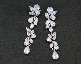 Wedding Earrings, Crystal Bridal Earrings, Wedding CZ Earrings, Statement Zircon Earrings, Romantic Drop Earrings, Ref Diane