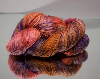 Hand dyed sock yarn - Sunkissed Berry - Superwash Merino/Nylon blend 4-ply