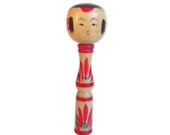 Adorable Yajiro Style Kokeshi Doll. Vintage Kokeshi. Japanese Doll. Tall Vintage Kokeshi. Dento Kokeshi. Kawaii. Japanese Kokeshi Doll.