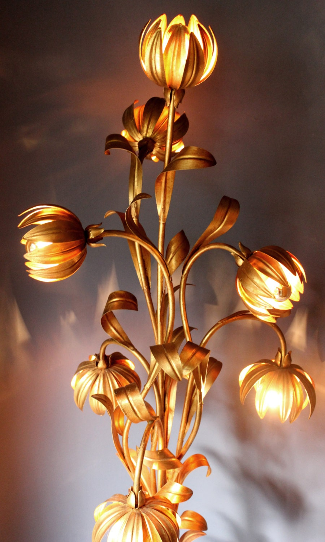 Banci Firence Large Italian Gilt Romantic Floor Lamp 1950s