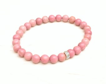 Rhodonite bracelet, Silver bracelet, Yoga bracelet, Rhodonite jewelry, Pink bracelet, Gemstone bracelet, Dainty bracelet, Layering bracelet