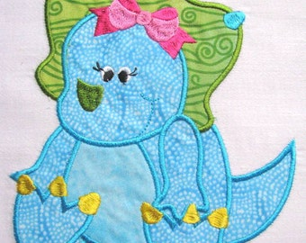 Girly Dinosaurs 05 Machine Applique Embroidery Design - Girly Dinosaur Applique - Dinosaur Applique Design - Applique Design - Cute Dinosaur