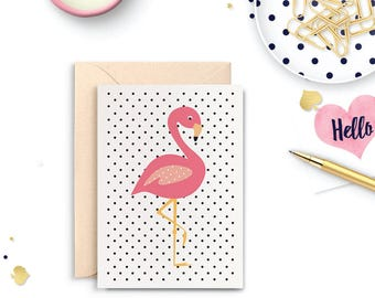 Flamingo Blank Greeting Card, Pink Flamingo Card, Blank Greeting Card, Blank Card, Thank You Card, Card for Her, Birthday Card, BLA046