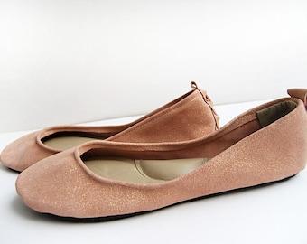 Blush rose gold sparkle leather ballerina flat shoes custom made