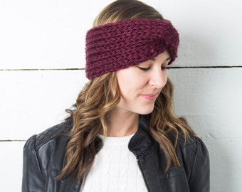 Knit Ear Warmers, Twisted Turban Headbands, Women's Knitted Ear Warmer, Chunky Knit Knitted Headband, Knit Headbands, Handmade Earmuff