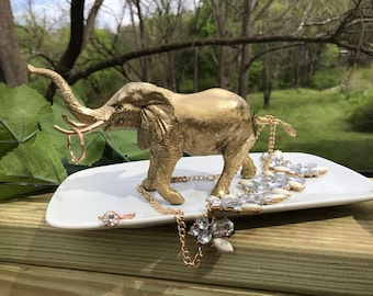 Elephant Jewelry Holder, Large Elephant Ring Holder, Catch All, Jewelry Dish, Home Decor