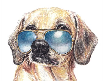 Dachshund Mix PRINT -  Crayon Portrait of a Chiweenie Wearing Aviator Glasses, Dog Lover Gift