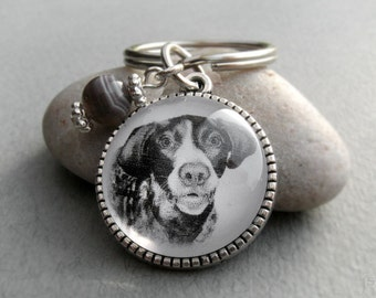 German Shorthaired Pointer Key Ring, Pet Drawing, Pet Gift, German Pointer Keychain, Dog Art, Silver, Bronze, Gemstone, Birthstone Keychain