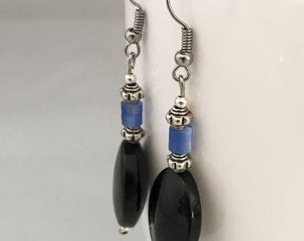 Black dangle earrings, blue dangle earrings, black earrings, blue earrings, black bead earrings, blue bead earrings, earrings black