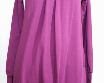 purple dress with long sleeves