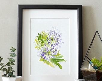 Delicate Agapanthus, Watercolor painting, Flowers, Floral Print, Printable art, Home decor, Original art, Floral wall art, Instant Download