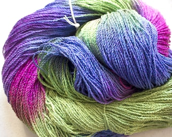 Nuthatch, Hand painted yarn, fine cotton/rayon cable, 300 yds - Nepeta