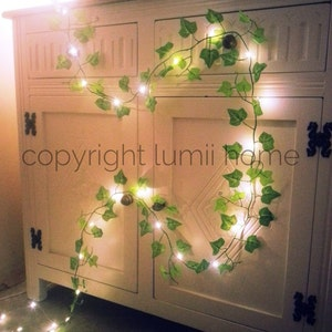 Green Ivy Leaf Garland Vine 2m With 20 Mini Led Fairy String Lights  Decoration, Woodland