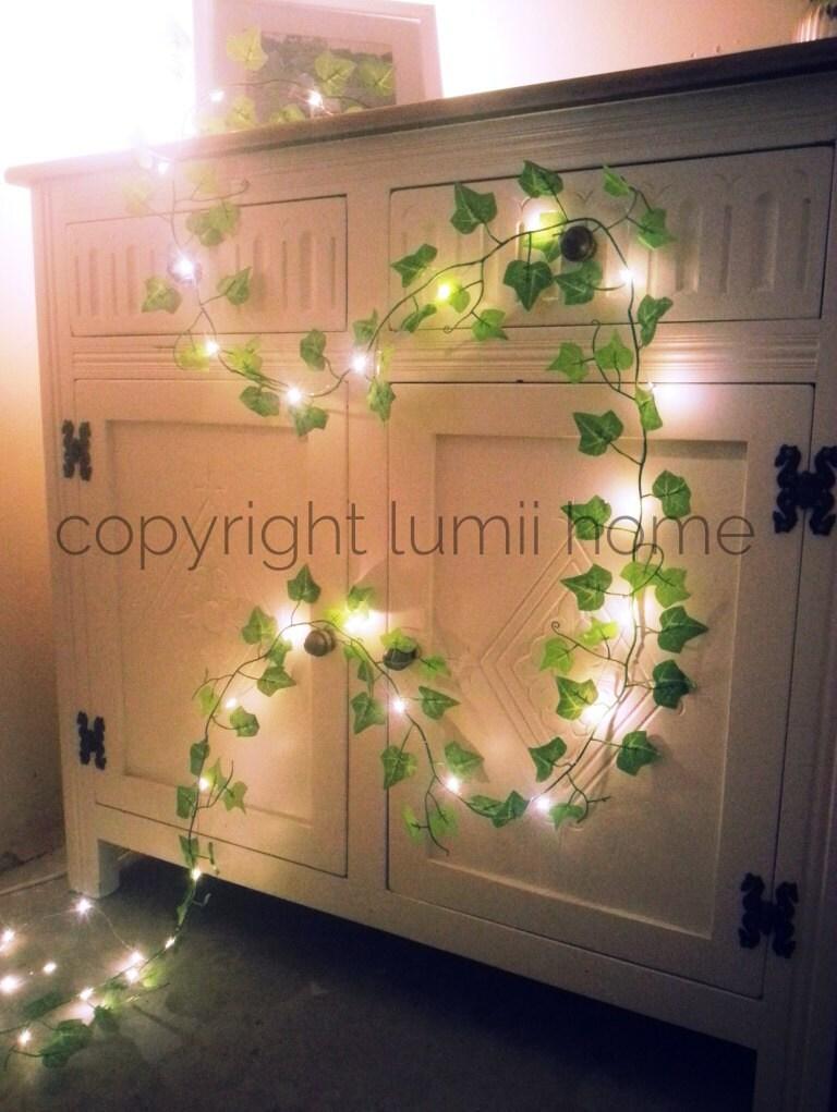 Green ivy leaf garland vine 2m with 20 mini led fairy string - Fairy light decoration ideas ...