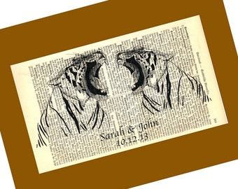 Tiger Love Wedding Anniversary Valentine Engagement Gift Personalized Art Print on Antique 1896 Dictionary Book Page
