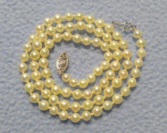 SALE!!  Genuine 4 mm Pearl Necklace with 14k Gold clasp  (was 59.00)