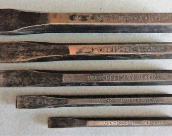 Craftsman Vintage Cold chisels 42975  42974  42973  42972  42971 all WF made in USA