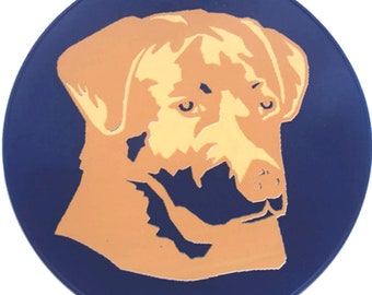 Round Blue Silicone Golden Retriever Table Trivet, Kitchen Hot Pad, Table Placemat