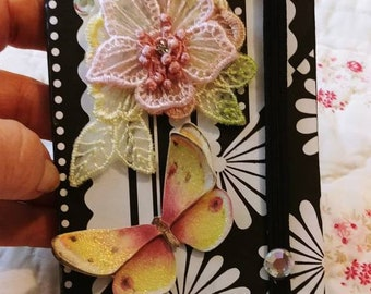 Black and White Flowers and Butterfly Altered Journal