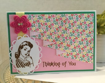 Retro Thinking of You Friends Card F11