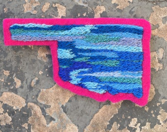 Medium Hand Embroidered Oklahoma Patch Blue/Pink