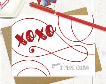 personalized stationery set - xoxo HUGS and KISSES - set of 8 folded note cards - choose color - personalized stationary